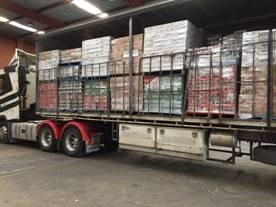 Hick Transport truck loaded with SPC food